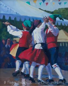 Festa, Portuguese Dancers - 11x14, oil on canvas  D0397