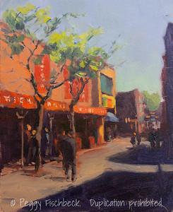 Street View, Chinatown, Montreal, 8x10, oil canvas panel
