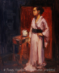 In Her Grandmother's Kimono, 16x20 oil on linen panel