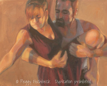 "Jean Isaacs San Diego Dance Theater, Cabaret Dances 2010, ""When Strangers Meet"" - I,  16x20, Oil on canvas panel  SOLD"