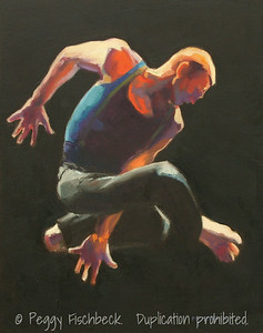 "Jean Isaacs San Diego Dance Theater, ""Rhapsody in Blue"" - I, 16x20, Oil on canvas panel  SOLD"