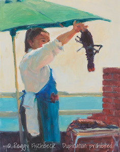 Lobster on the Grill, 14x11, oil on linen  H0676