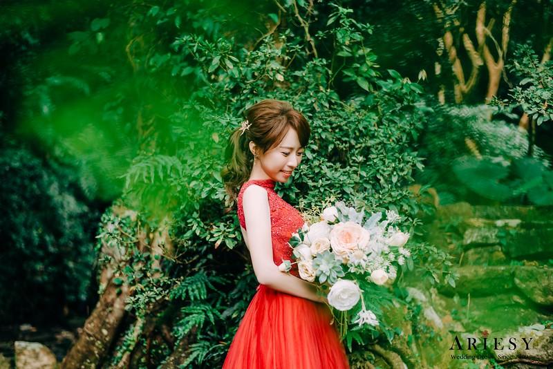 禮服出租,新莊自助婚紗,手工婚紗,婚紗包套,紅色削肩晚禮服,優雅公主風白紗,新秘Ariesy團隊