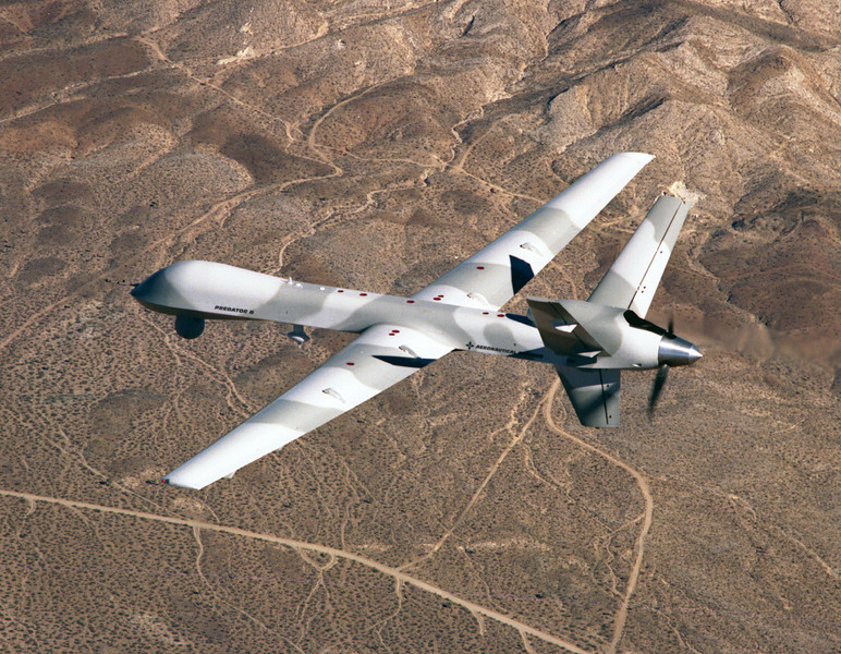 This plane is the unmanned Predator B.  I shot the photo over the Mojave Desert and then it was used on the cover of Aviation Week Magazine.