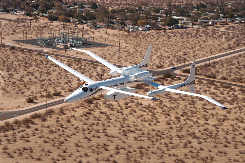 Proteus on final to land at Mojave Airport
