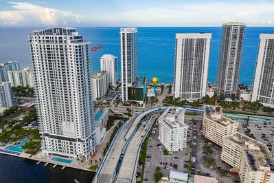 Hyde Resort Condominiums Hollywood Beach FL with view of Atlantic Ocean
