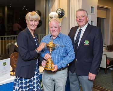 Mark Diggin with The Ryder Cup and winner of 2 tickets and €1500 spending money to the Ryder Cup in France with Lady Captain Tina Meehan and Captain  Peter Burgess at the 40th Anniversary Celebrations
