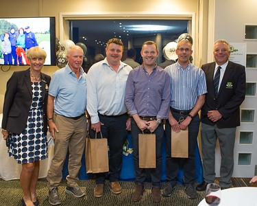 Philip Bonus, Raymond McElhinney, Conor Whelan, and Joe Hughes 3rd place winners at the 40th Anniversary of Founders Day receive their prizes from Lady Captain Tina Meehan and Captain Peter Burgess