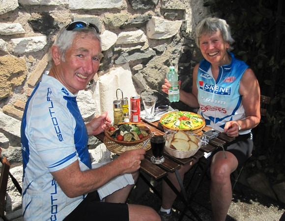 Cycling companions are nourished by delicious the satisfaction of having cycled the Appian Way into Rome – and of course, their lunchtime 'insalatas.'  By the time we reached Rome, we had completed nearly half of our 2011 ExpeditionPlus!  ride across Italy.
