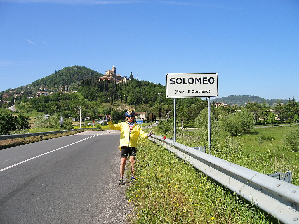 """""""O Solo Mio""""  A great day on the bike makes you want to sing; and approaching Solomeo, Italy on a clear day, just calls for opera.  Che bella cosa e' na giornata 'e sole n'aria serena doppo na tempesta! Pe' ll'aria fresca pare già na festa Che bella cosa e' na giornata 'e sole.  What a beautiful thing is a sunny day! The air is serene after a storm, The air is so fresh that it already feels like a celebration. What a beautiful thing is a sunny day!"""