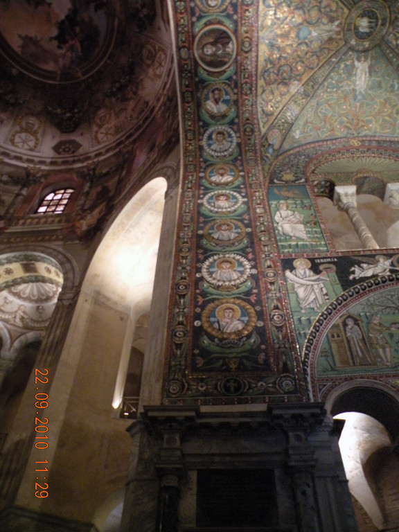 """This picture was taken during our bicycle tour from Venice to Pisa in 2010.  We were awe-struck by the beautiful mosaics in the Basilica and Dante's Tomb.  It was hard to imagine the hours that were spent using 1/4"""" color glass to construct such amazing artwork.  We were thankful that this basilica was on the itinerary."""