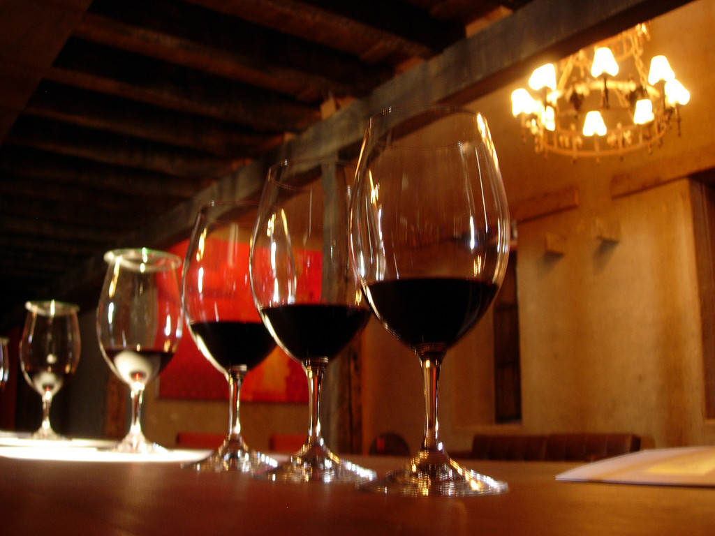A winetasting at the Neyan Winery on a bike tour of the Chilean Wine Country