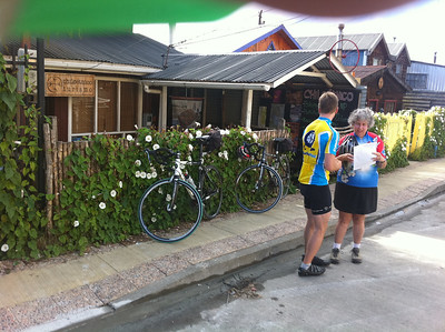 Reviewing the day's ride and the steepness of the hills.