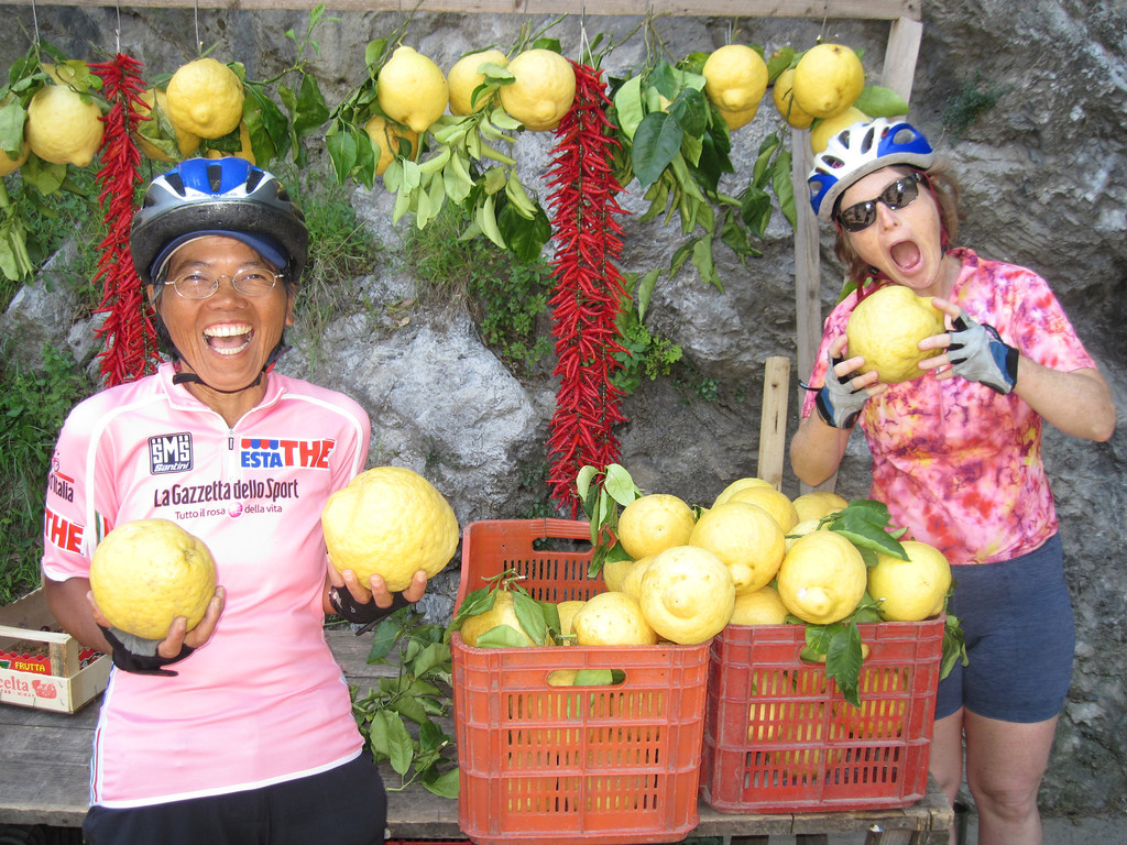 Taking a break from their harrowing yet spectacular ride along the Amalfi Coast, cyclists are deliriously amused by these unique lemons.   This is the land of the finest and most distinctive lemons in Italy.