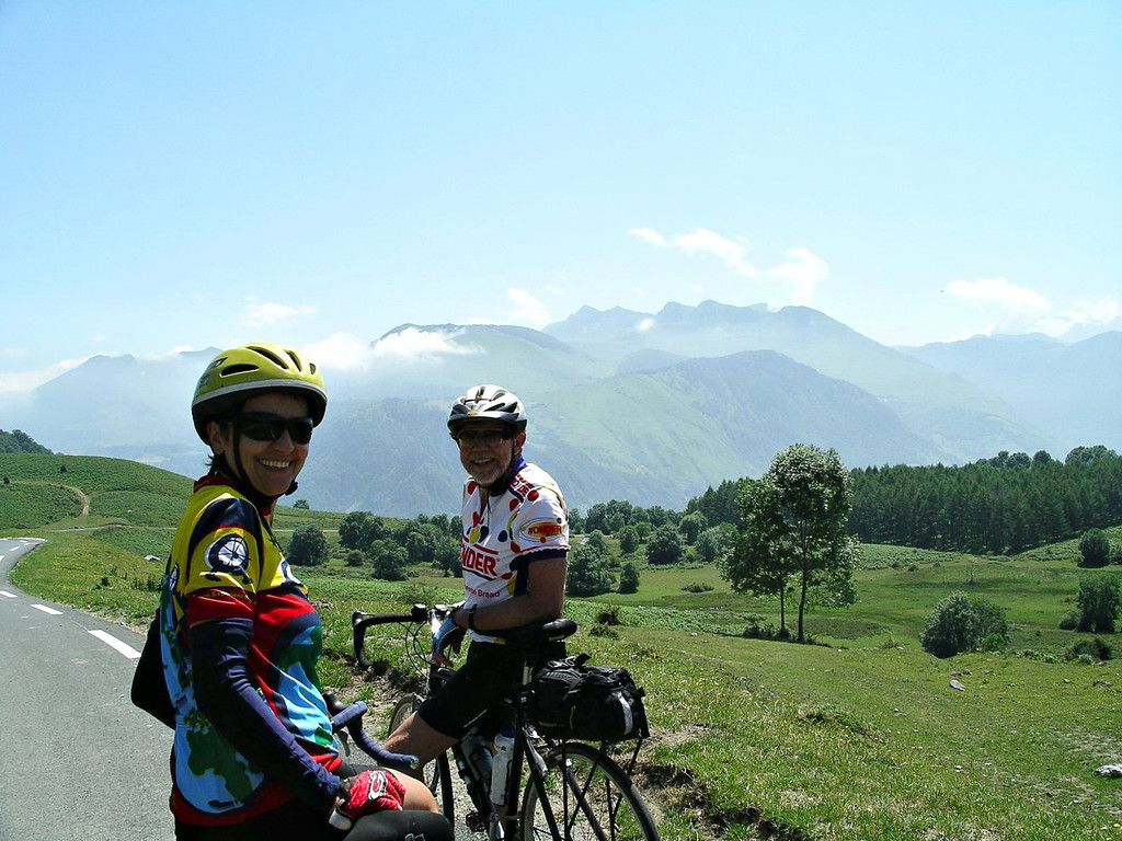 Paola Price and Jerry Lynch at the top of one of the Pyrenees passes