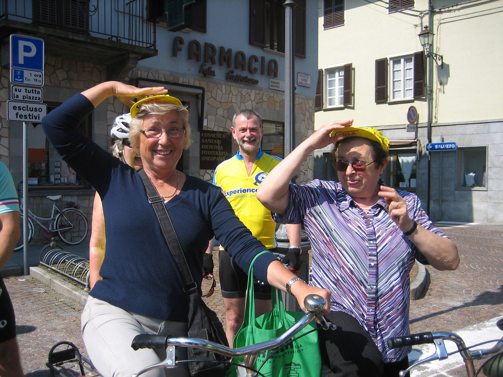 One of the benefits of traveling through small towns with ExperiencePlus is having the ability to see how people live their lives.  On our recent trip through the Piedmont region of Italy, we were awestruck by these two happy women hauling watermelons, vegetables, bread, and other assorted groceries in the handlebar baskets of their old bikes.   There are no supermarkets in these villages, so the ladies do their shopping this way every day, rain or shine.  We traded two cycling caps for the opportunity to chat with them for about 15 minutes, during which time we talked about their bikes, food shopping, and our experiences as bike tourists in Italy.  Turns out they were just as curious about us as we were about them.
