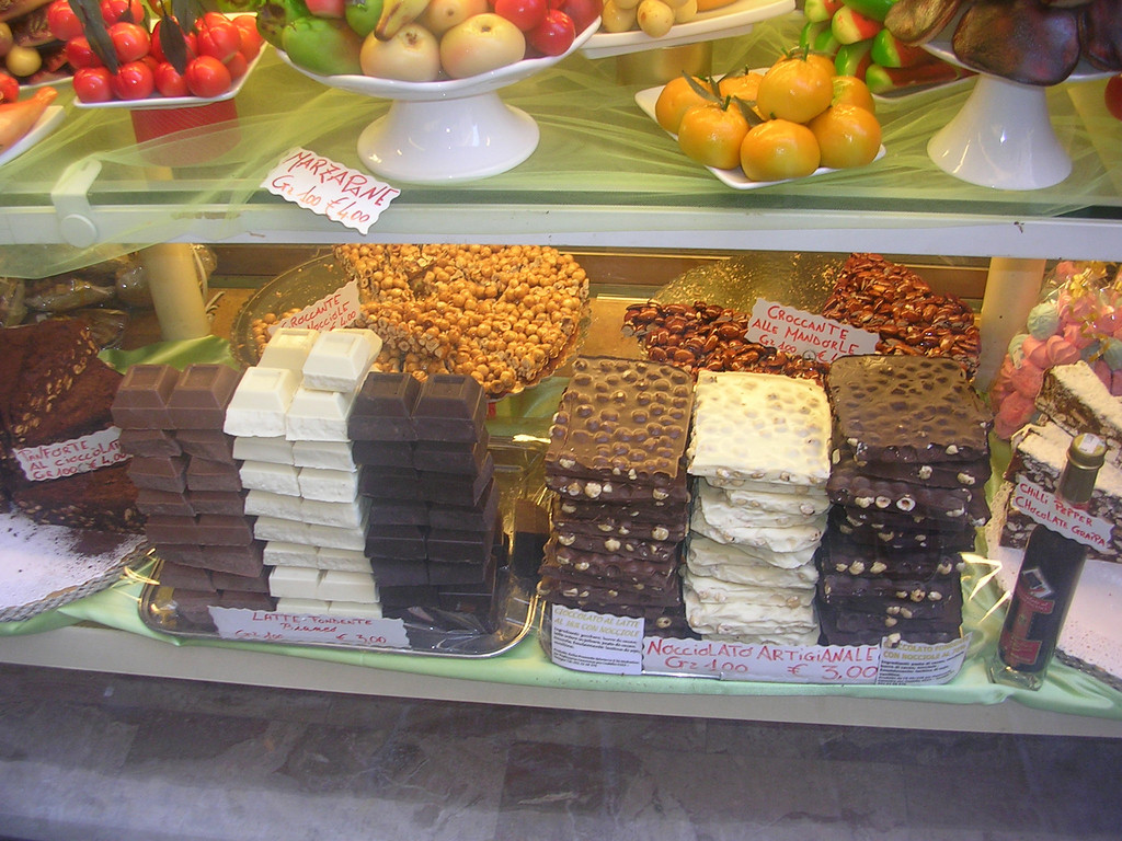 So how do you prepare for a bike ride across Italy? with CHOCOLATE!!! The day we started our tour we wandered through the streets of Venice looking in the various shops. When we saw this sight we knew we had to stock up. You never can have too much chocolate.