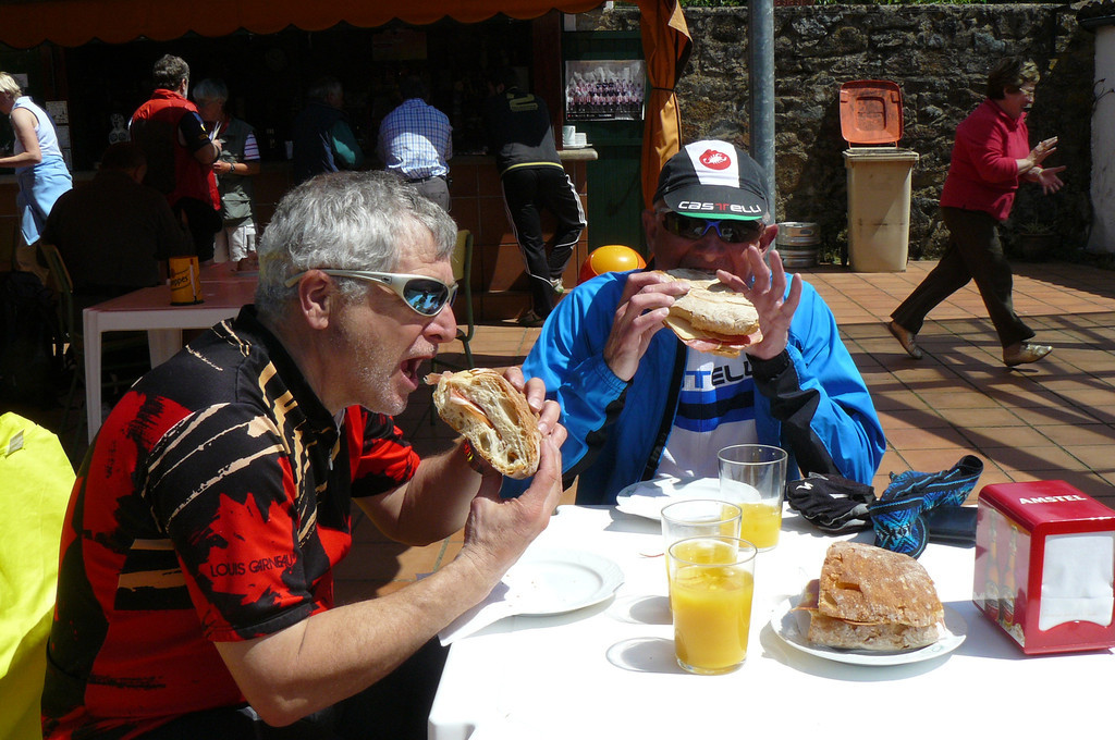 """Roadside stand in the Galician Countryside in Spain along the Camino. Lunches are always great on a bicycle trip when you stop where the """" locals"""" congregate. Food is basic but really good."""