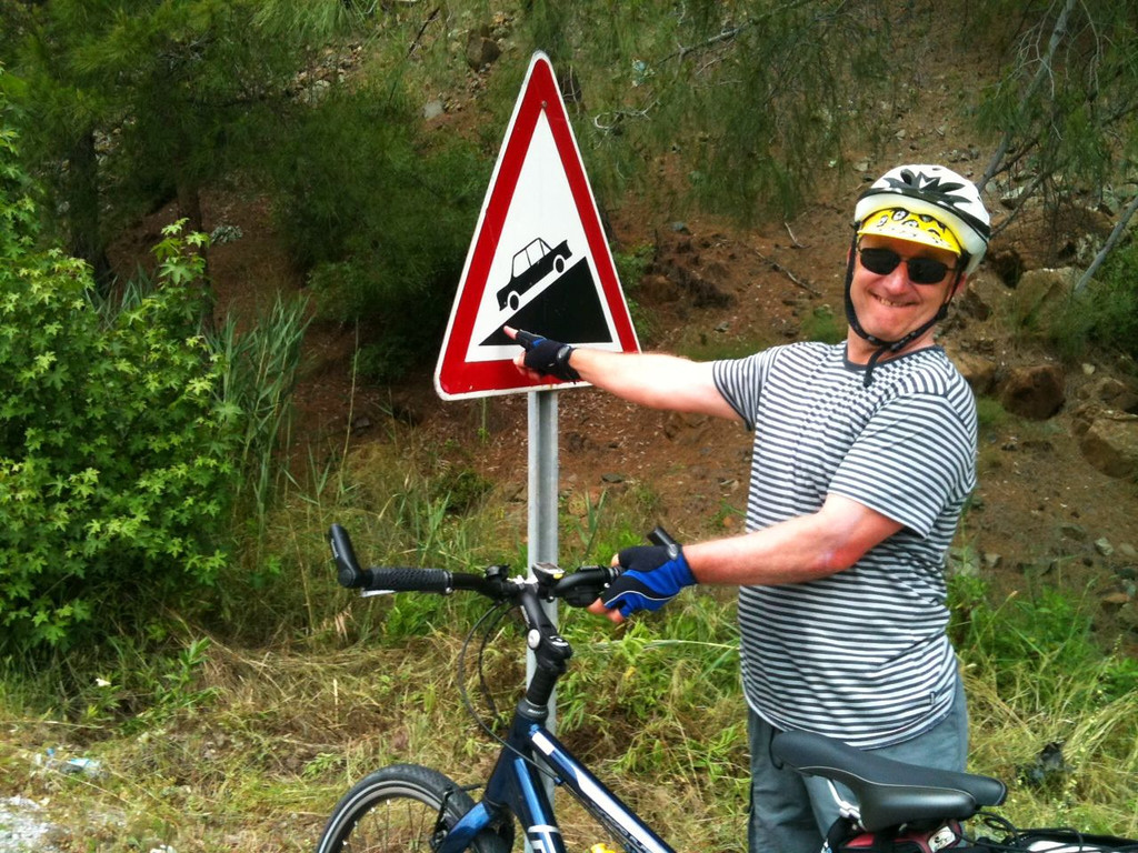 "Half of "" team Australia,"" he seems happy to be finally going downhill. Taken in Turkey on one of the many, many hills."