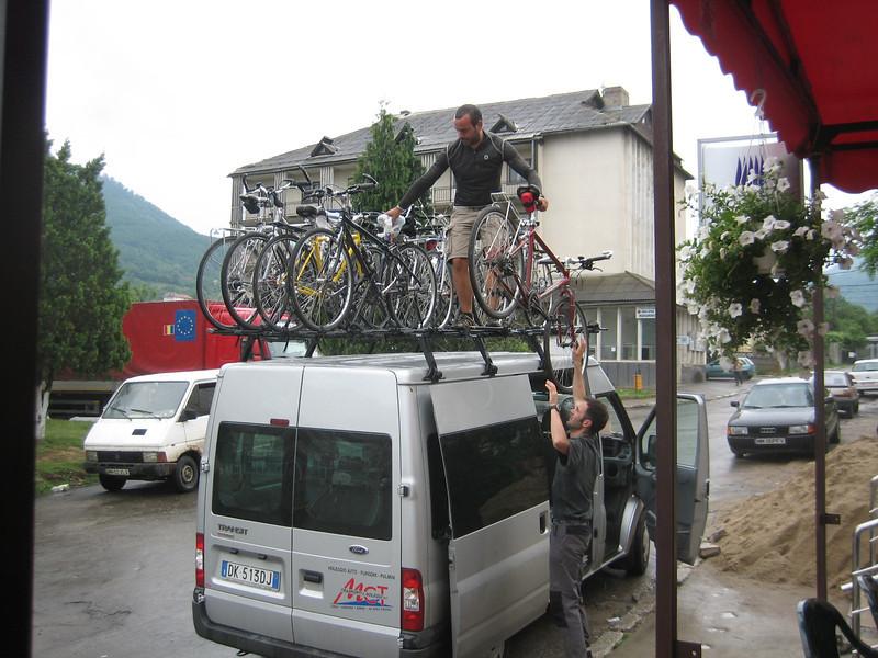 Romanian van, bikes, tour leaders