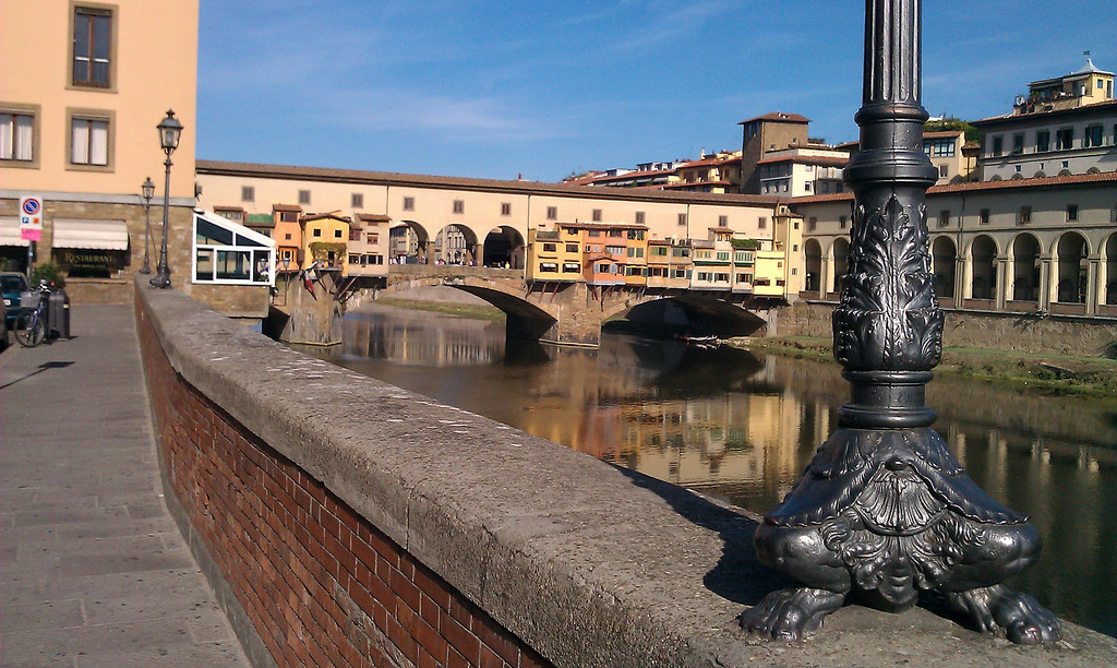 Here is a picture of Ponte Vecchio with Florence's interesting street lights in the foreground.