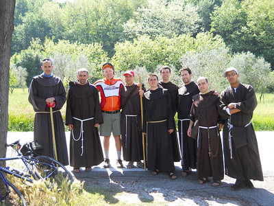 Taken following a close call with these seminarians from Fiesole Ferenze. I was flying down a curve into the town, when this group was taking a walk up the same road. After a near miss, I looped back and had a nice talk with them, got absolution, and rode on into the town.