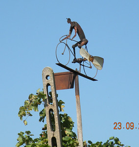 "A true indication of just how ingrained cycling is in the Italian psyche can be seen in this weather vane which we encountered along the road on our way to ""The Farm"" during our Venice to Pisa tour."