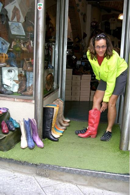 Checking out boots in Montepulciano