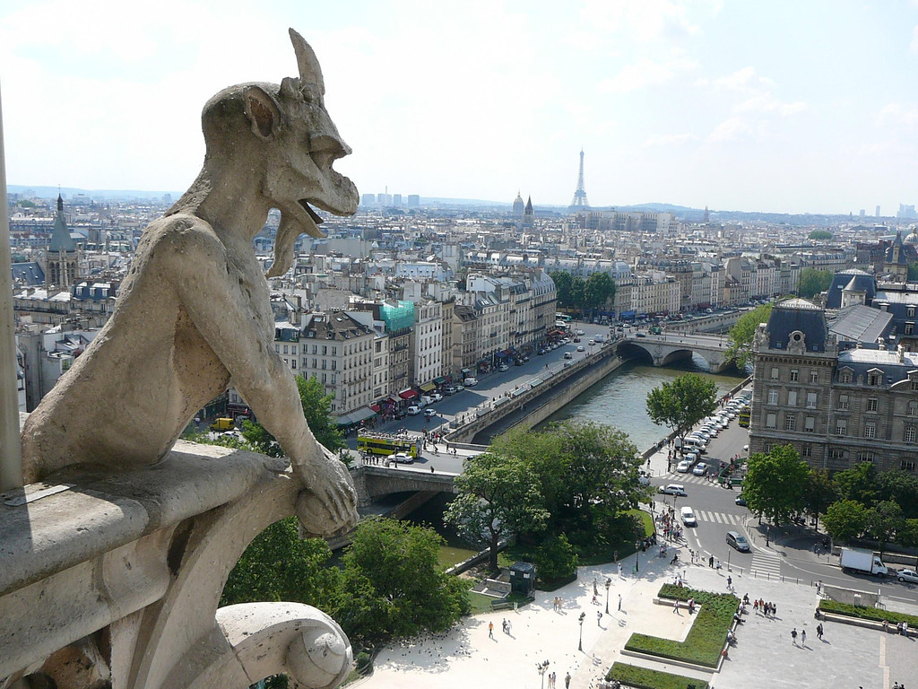 Survey.   Taken from the top of Notre Dame while visiting Paris before joining the Dordogne tour.  Do you suppose that gargoyle liked the views as much as I did?