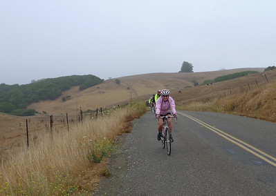 Cycling the hills of the Sonoma coast isn't all that easy. There are plenty of challenging hills. But Kem (foreground) makes it look easy here.