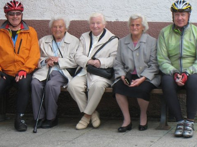 """We had the good fortune to share the sun's warm with these Germany ladies on a crisp fall day while """"Bicycling Germany's Romantic Roads"""" in 2010."""