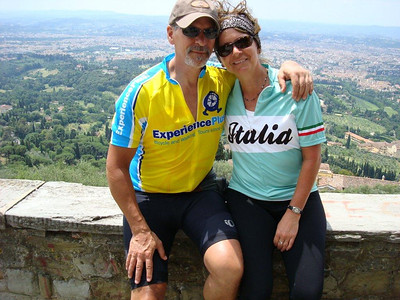 This is a picture of my husband and I overlooking Florence.  This was a trip of a life time for us and has changed our lives.. It has been a dream of mine to go to Italy and it was that and more.  This trip could not have been any better; I think about it every day.  We have both have been biking every chance we get and plan to do a trip with ExperiencePlus every year as long as we can..When I look at this picture I say to myself, WE DID IT!!!