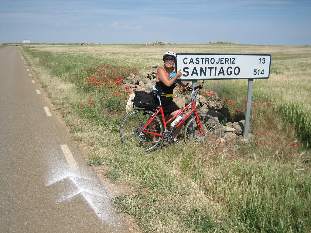There were long, flat, hot stretches of road on the day with the most miles as we followed the Camino de Santiago. Arrows always appreciated!