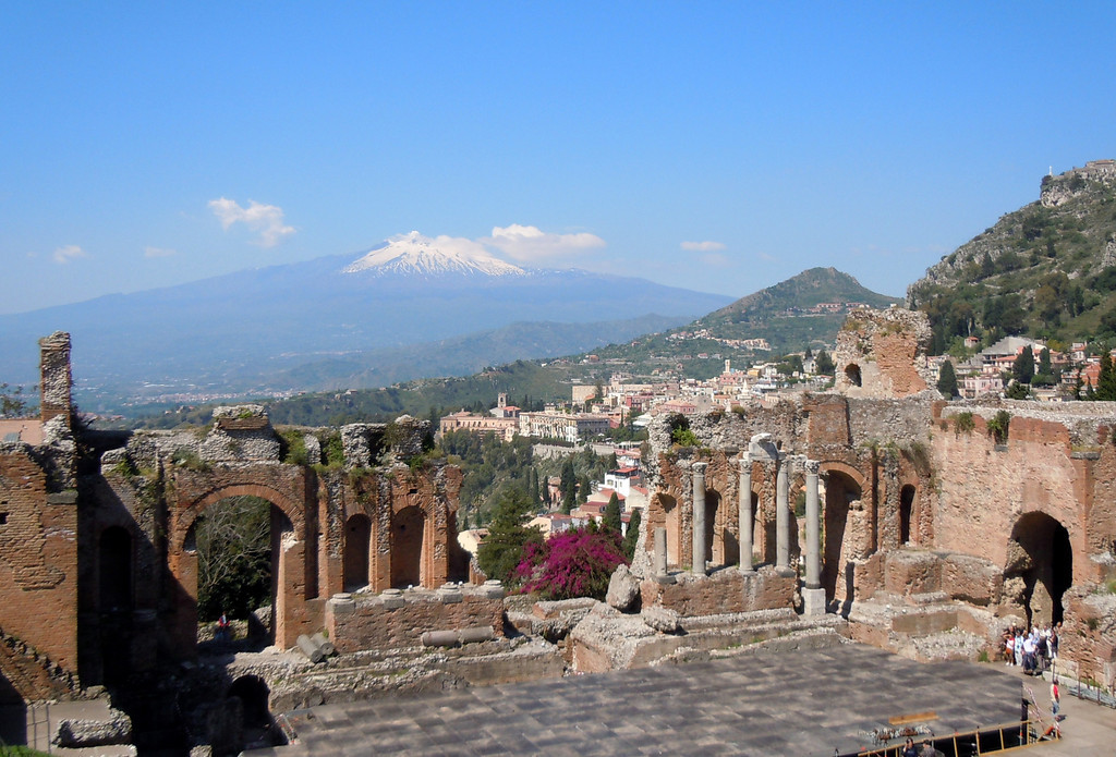 The ruins of Taormina with Mount Etna in the background. The history lesson from Rick at Taormina gave us time to admire the view and reflect on the fact that thousands of years ago, other people sat in these seats and marvelled at the view.