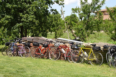 The only place on an XPlus bike tour that you can leave your bike and not lock it -- Lunch at the Farm!!!!