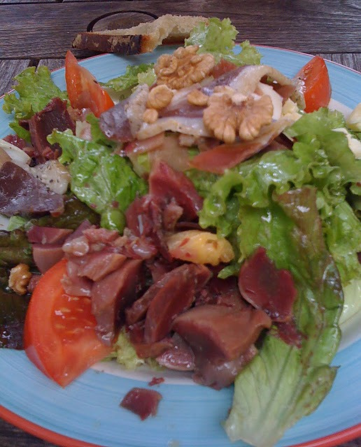 """Salade composee"" with goose giblets and walnuts at a streetside cafe in La Roque-Gageac.  Delicious!"