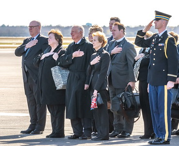 Jean Becker, Secretary Baker and his wife--along with others honor their dear friend