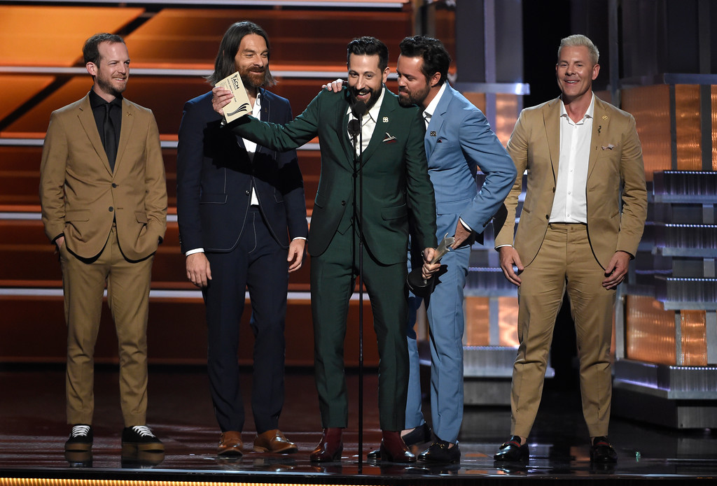 . Whit Sellers, from left, Geoff Sprung, Matthew Ramsey, Brad Tursi and Trevor Rosen, of Old Dominion, accept the award for vocal group of the year at the 53rd annual Academy of Country Music Awards at the MGM Grand Garden Arena on Sunday, April 15, 2018, in Las Vegas. (Photo by Chris Pizzello/Invision/AP)