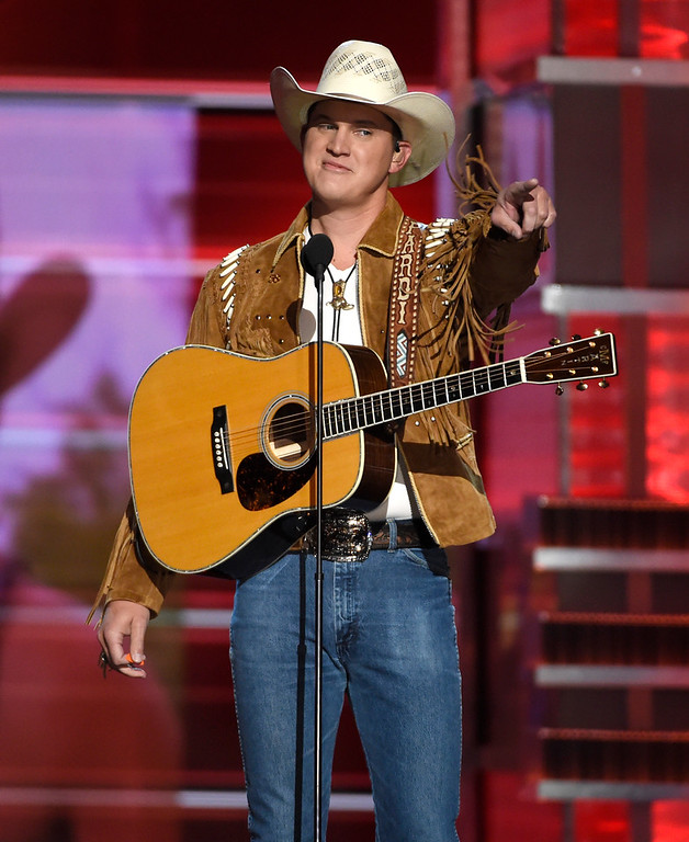 ". Jon Pardi points to the crowd after performing ""Chattahoochee\"" at the 53rd annual Academy of Country Music Awards at the MGM Grand Garden Arena on Sunday, April 15, 2018, in Las Vegas. (Photo by Chris Pizzello/Invision/AP)"