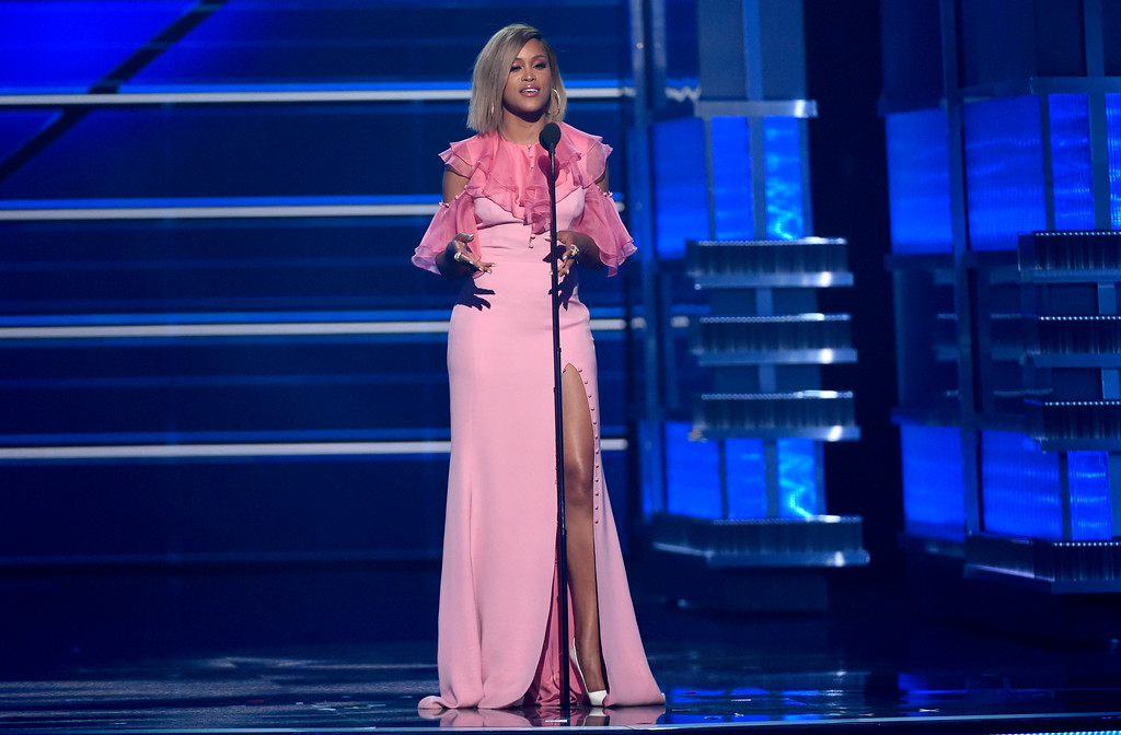 . Eve speaks at the 53rd annual Academy of Country Music Awards at the MGM Grand Garden Arena on Sunday, April 15, 2018, in Las Vegas. (Photo by Chris Pizzello/Invision/AP)