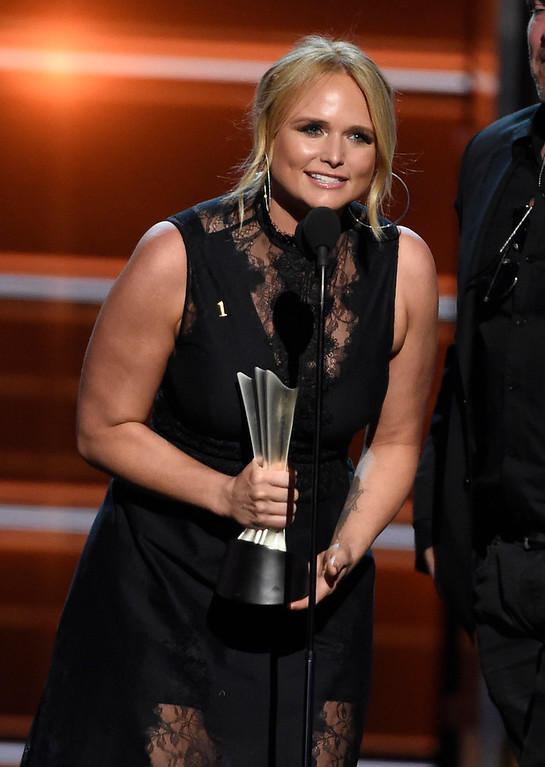 ". Miranda Lambert accepts the award for song of the year for ""Tin Man\"" at the 53rd annual Academy of Country Music Awards at the MGM Grand Garden Arena on Sunday, April 15, 2018, in Las Vegas. (Photo by Chris Pizzello/Invision/AP)"