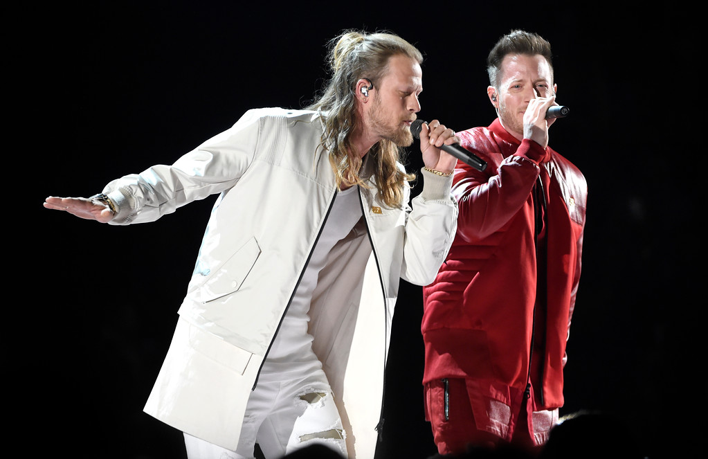 ". Tyler Hubbard, right, and Brian Kelley, of Florida Georgia Line, perform ""Meant to Be\"" at the 53rd annual Academy of Country Music Awards at the MGM Grand Garden Arena on Sunday, April 15, 2018, in Las Vegas. (Photo by Chris Pizzello/Invision/AP)"