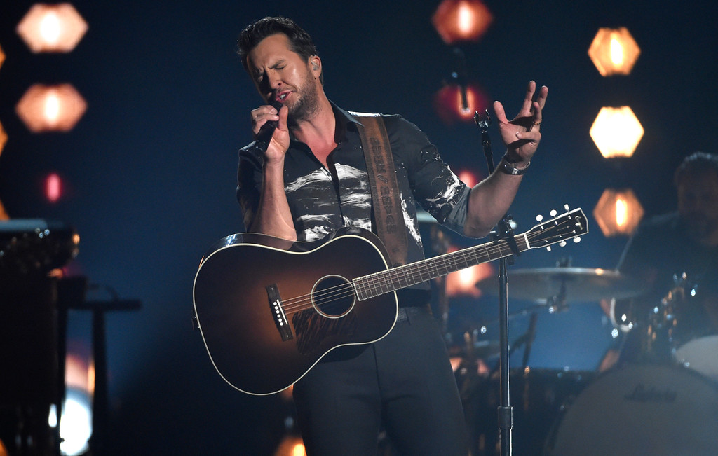 ". Luke Bryan performs ""Most People Are Good\"" at the 53rd annual Academy of Country Music Awards at the MGM Grand Garden Arena on Sunday, April 15, 2018, in Las Vegas. (Photo by Chris Pizzello/Invision/AP)"