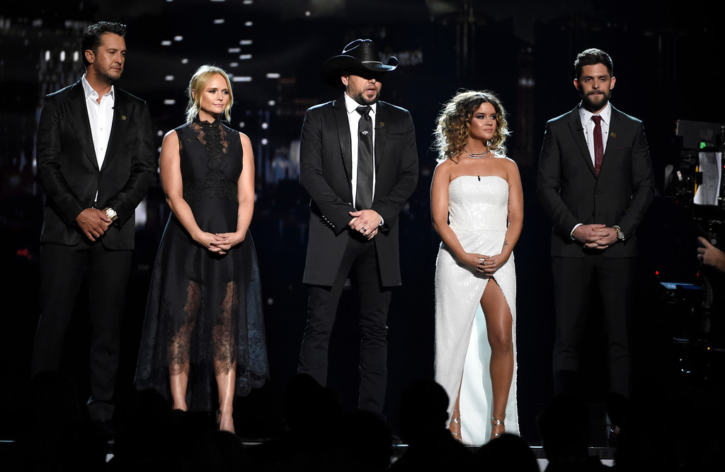. Luke Bryan, from left, Miranda Lambert, Jason Aldean, Maren Morris and Thomas Rhett speak at the 53rd annual Academy of Country Music Awards at the MGM Grand Garden Arena on Sunday, April 15, 2018, in Las Vegas. (Photo by Chris Pizzello/Invision/AP)