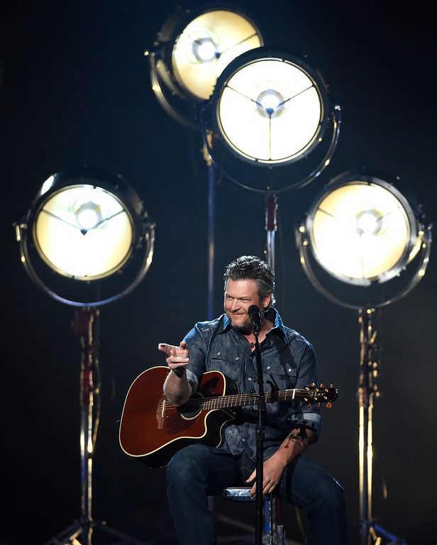 ". Blake Shelton performs ""I Lived It\"" at the 53rd annual Academy of Country Music Awards at the MGM Grand Garden Arena on Sunday, April 15, 2018, in Las Vegas. (Photo by Chris Pizzello/Invision/AP)"