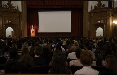 Andrew Smith speaks during Yom Hashoah Morning Meeting