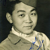 Title: Ernest Maruyama, Anti-tank Company. Studio Portrait<br /> <br /> Inscription: Your pal Ernie<br /> <br /> Date: 1944-1945<br /> <br /> Location: Nice, France<br /> <br /> Notes from Seiji: Anti-tank. Moved to Las Vegas.<br /> <br /> Photo courtesy of Seiji Oshiro. Copyright retained by the Estate of Seiji Oshiro.