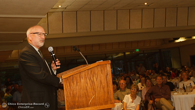Mark Stahl gives a speech after being inducted into the Chico Sports Hall of Fame at the the 44th Chico Sports Hall of Fame and Senior Athletes' Banquet May 10, 2016 at the Elks Lodge in Chico, Calif. (Emily Bertolino -- Enterprise-Record)
