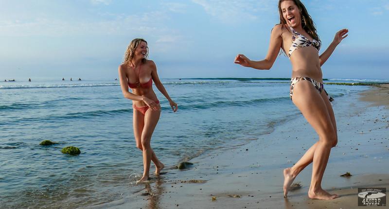 Beautiful Blond & Brunette Malibu Surf Girls! Tall, Thin, Fit, Hot & Pretty Bikini Swimsuit Model Goddesses!