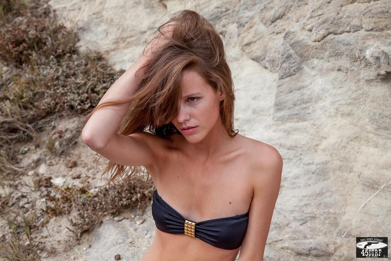 Canon 5D Mark II Photos of Beautiful Brunette Swimsuit Bikini Model Goddess! Pretty Green Eyes! Wind in her Long, Wavy Hair!